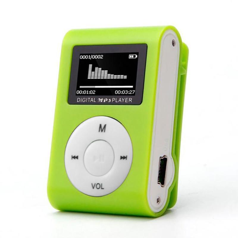 MP4 jogadores MP3 player com mini clipe de metal, tela LCD, micro tf / sd slot, fone de ouvido e cabo USB, música portátil # P45