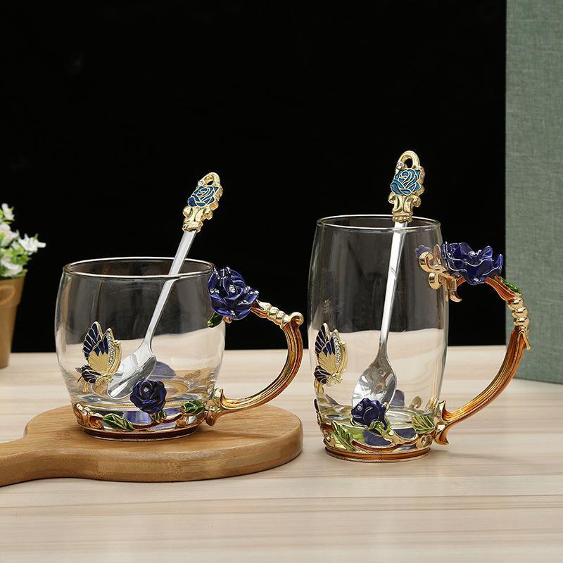 패션 에나멜 컵 홈 세트 크리 에이 티브 유럽 스타일 내열 크리스탈 유리 비즈니스 선물 꽃 와인 안경