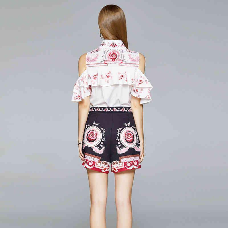 Kadın İki Parçalı Pantolon Yeni Moda Pist Yaz 2 Set Kadın Kapalı Omuz Ruffles Çiçek Baskı Gömlek Tops + Yüksek Bel Geniş Bacak S