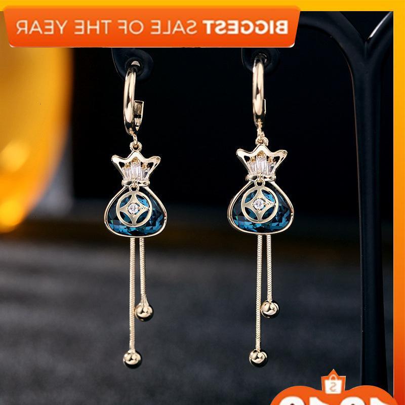 Korea east gate red crystal blessing bag tassel long feminine style Fashion earrings 925 silver needle jewelry