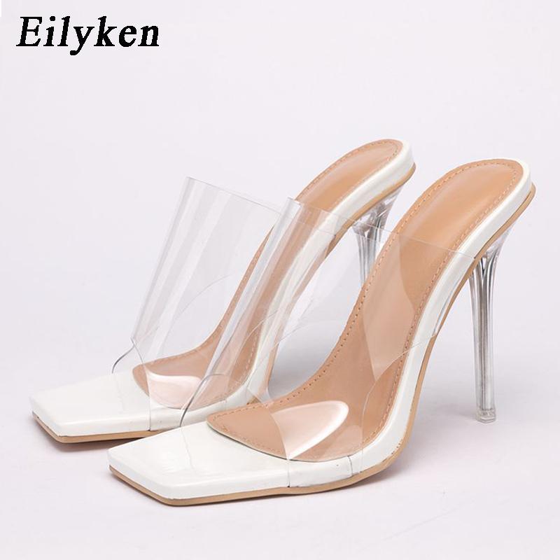 Eilyken Neue Sommer Mode Hausschuhe Sexy PVC Transparent Kristall High Heels Party Hausschuhe Flip Flops Schuhe Größe 36 42 210423