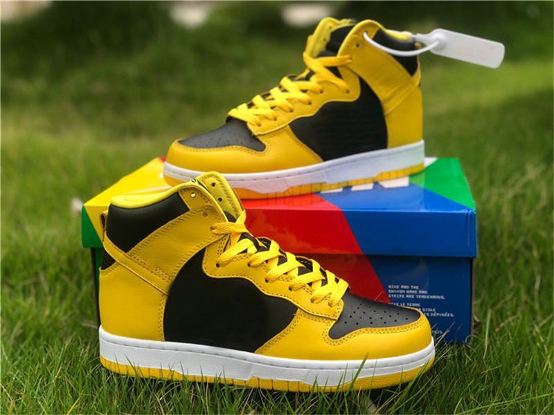 2021 أصيلة دونك عالية sp اسكواش الذرة ميشيغان في الهواء الطلق أحذية الرجال النساء الأسود الأصفر منتصف الليل البحرية zapatos أحذية مع بو الأصلي