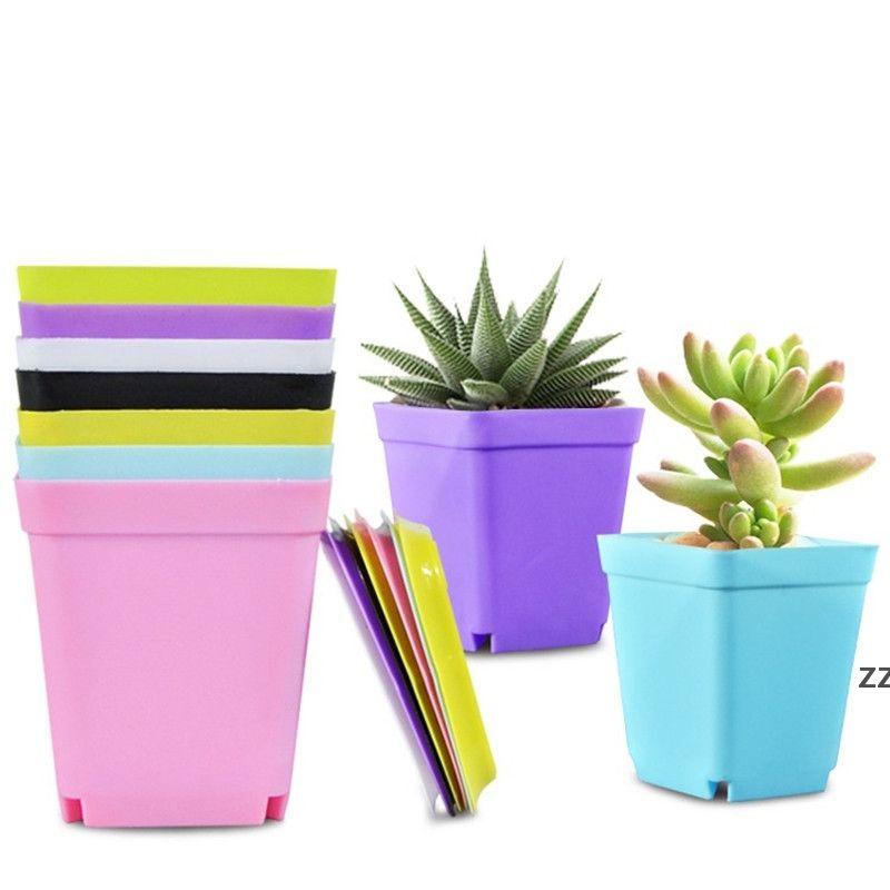 Flor Pot Square Plástico Plástico Nursery Garden Desempeño Decoración para el hogar Color de caramelo con bandeja Colores aleatorios HWF7448