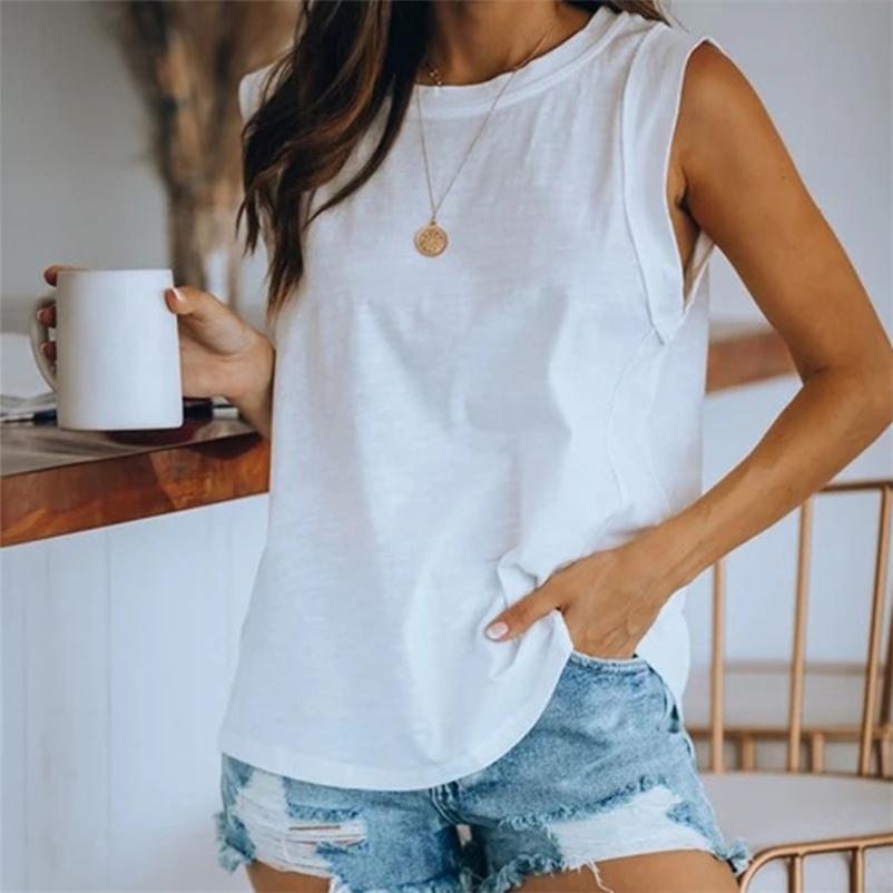 Laço do verão Tinta sem mangas colete tshirts Top O-pescoço solto casual camisetas Tops feminino moda streetwear senhora t-shirt 210401