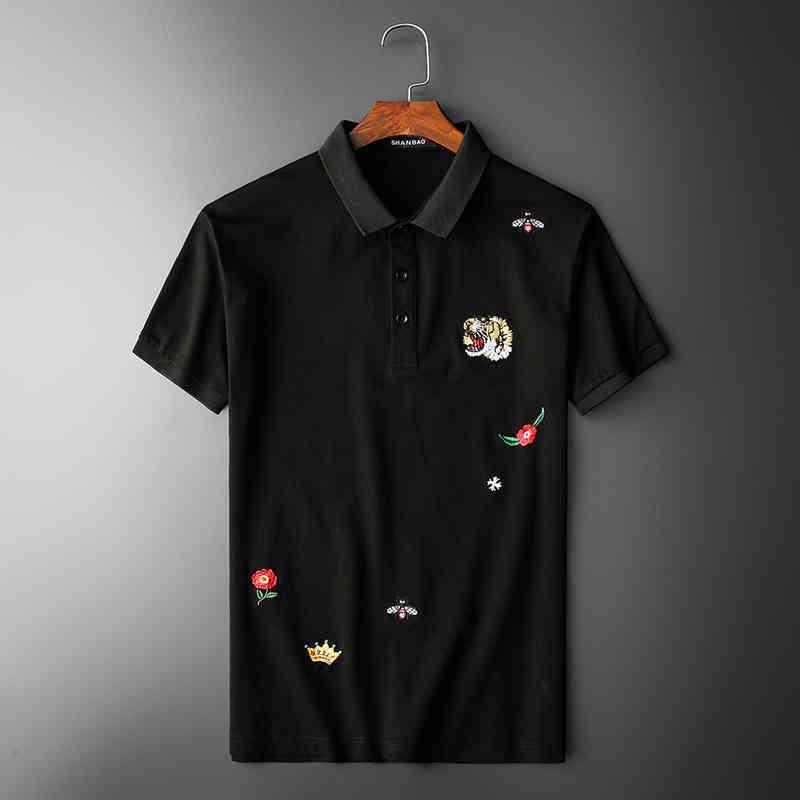 عالية جديد 2020 الرجال المطرزة النمر رئيس النحل تاج روز الأزياء بولو شيرت قميص الهيب هوب سكيت القطن بولو الأعلى المحملة # N242