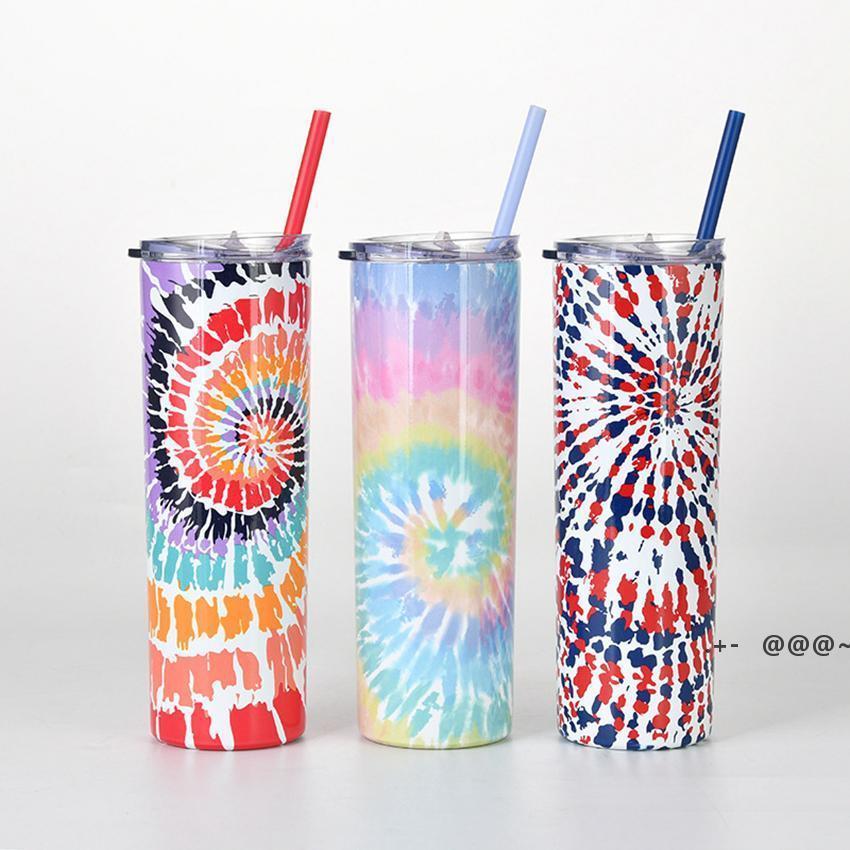 Tie-Dye Edelstahl Gerade Tasse Kreative Skinny Cups Krawattenfarbstoff Isolierte Tumbler mit Stroh und Cover MEER Versand FWB6180