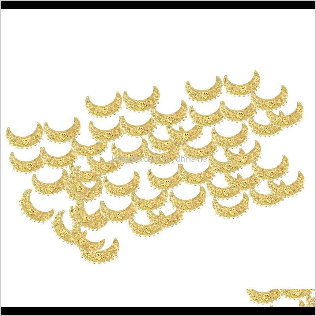 Making Tools 50Pcs Bead End Caps Crescent Shape For Jewelry Hollow Pendants Crafts Charms Tags Hairpin Antique Tassel Hair Clas Kxbqt