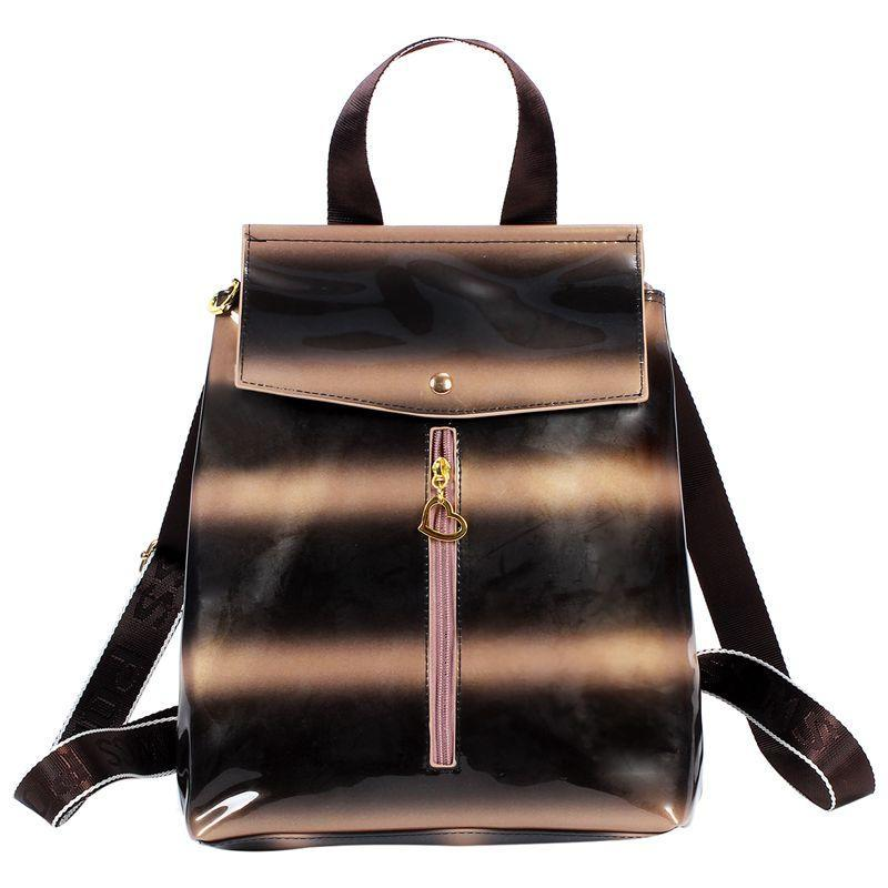 Outdoor Bags School Backpack Women Fashion Alligator Grain Girl Casual Vintage Patent Leather Women's Bag(Brown)