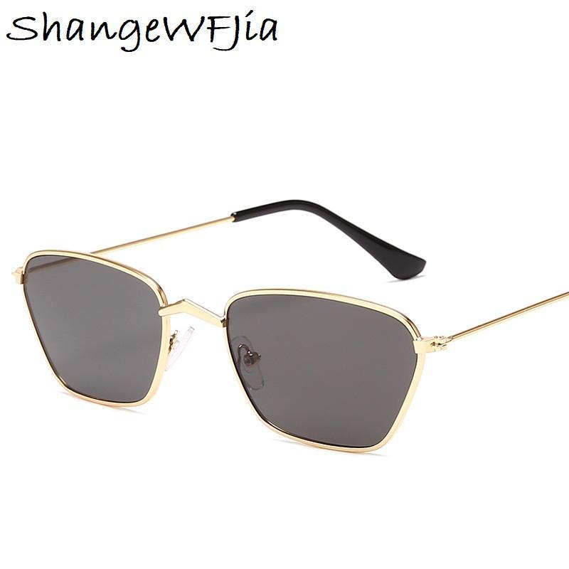 2019 clásico marco pequeño gato ojo gafas de sol mujeres / hombres diseñador de la marca aleación espejo gafas de sol vintage modis oculos
