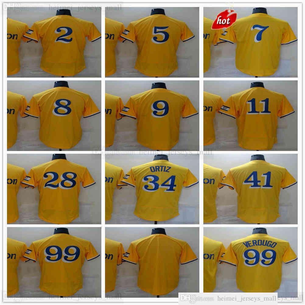 2021-22 Béisbol de costura amarilla David 34 Ortiz Jerseys 99 Alex 2 Xander Verdugo Boggaerts 5 Enrique 11 Rafael Hernandez Devers 28 JD Martinez Jersey