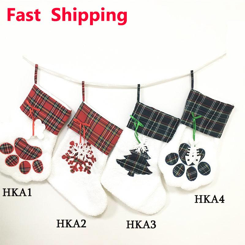 크리스마스 스타킹 고양이 개가 스타킹 솜털 산타 양말 눈송이 크리스마스 트리 장식 축제 선물 가방