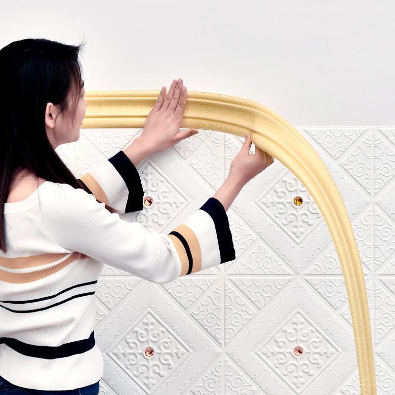 Pegatinas de pared Espuma 3D Impermeable Auto Adhesivo Auto Adhesivo Papel tapiz Pegatina Fronteriza Sala de estar Línea Línea Línea Decoraciones para el hogar
