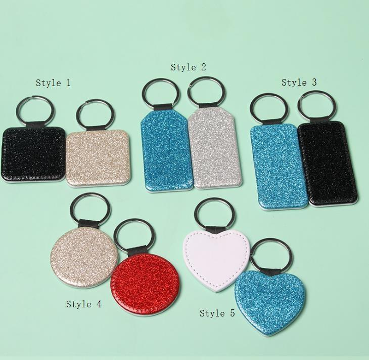 NEWParty Favor PU Leather Sublimation Sequin Keychain 5 Shapes DIY Glittery Keyring (back is white) Heart Shape Lover Gift Key Ring CCF9182