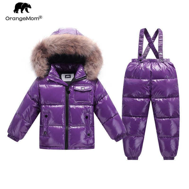 Orangemom Brand 2021 패션 키즈 세트 금속 컬러 겨울 재킷 어린이 의류 양복 소년 소녀 코트 다운 아이 Snowsuit Q0827