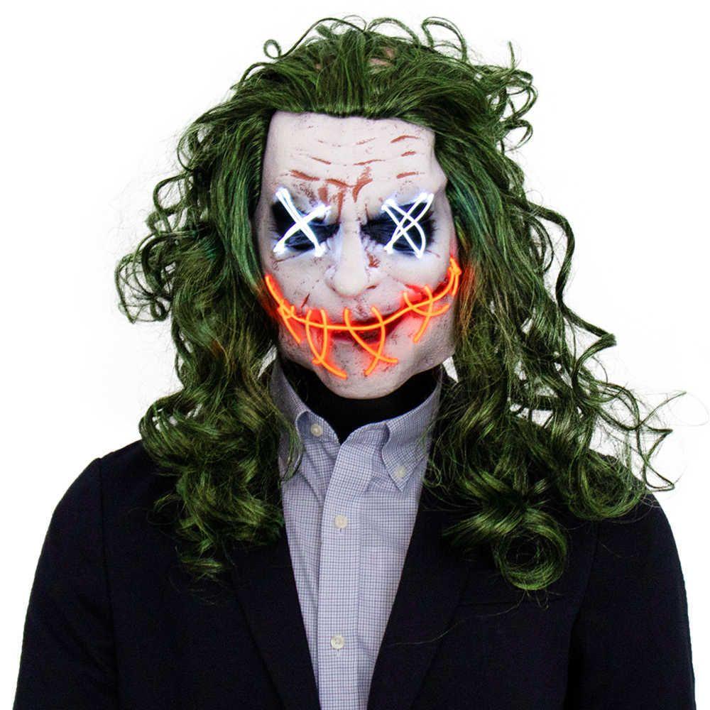 Korku Joker LED Işık Maskesi Cosplay Palyaço El Tel Glow Yeşil Saç Lateks Maskeleri Cadılar Bayramı Partisi Kostüm