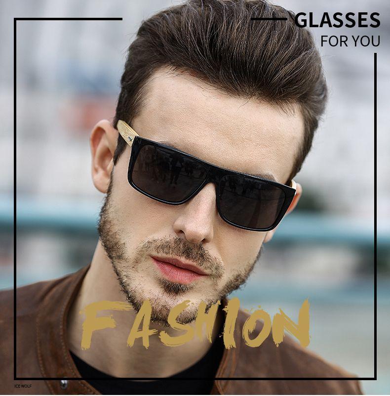 Rectángulo vintage bambú gafas de sol hombres mujeres mujer degradado lente conducción gafas de sol retro madera espejo tonos masculinos oculos de sol UV400