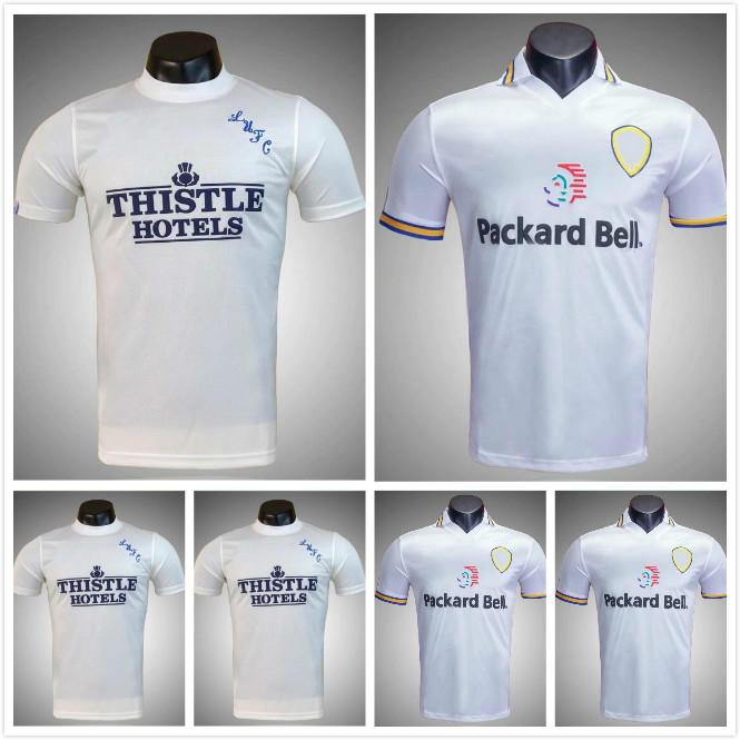 1998 1999 Leeds Home Shirt Hasselbaink # 9 Retro Fussball Jerseys Radebe Bowyer Kewell Harte Smith Haland 98 99 United Classic Football Hemden