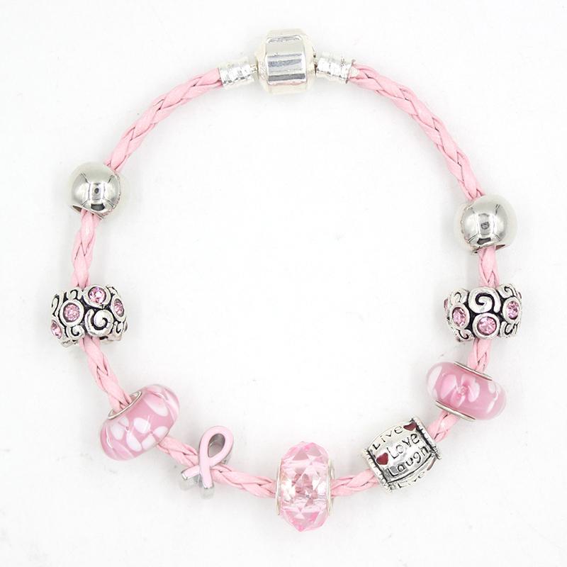 Женщины Ювелирные Изделия Оптовая 2021 Браслет рака молочной железы Розовая лента Осведомленность Браслеты Цветочный узор Лампы Стеклянные бусины Bangle Pulsera