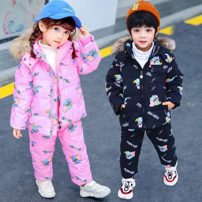 Niños cálidos Chaqueta de invierno Capa de bebé Pantalones para niños Traje para niños Muchachos Ski Wear Ropa de nieve Set Duck Down Alojamiento