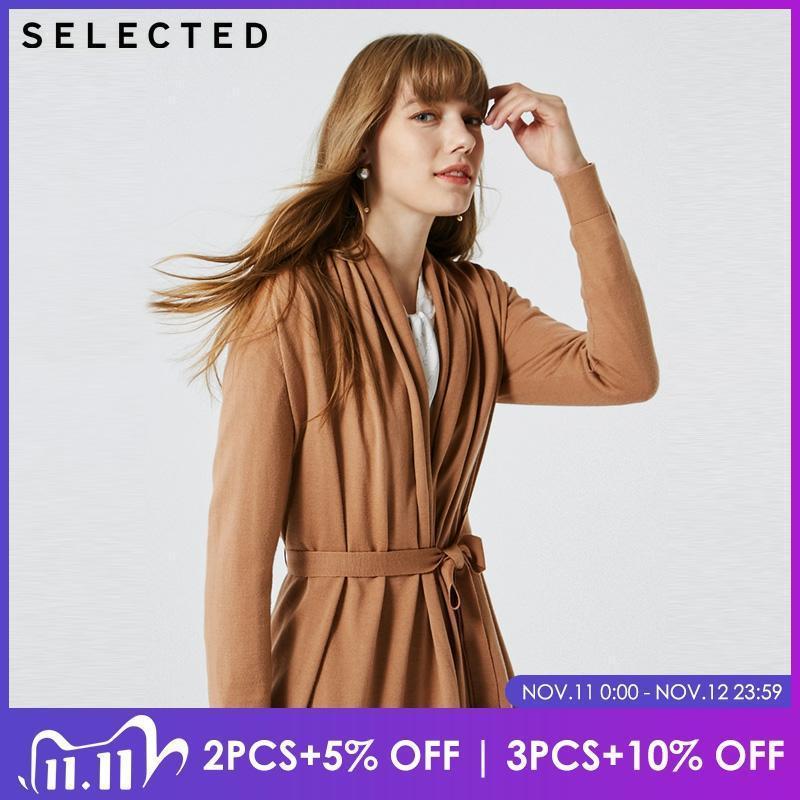 여성 순수한 컬러 양모 레이스 업 니트 카디건 스웨터 | 419424511 여성의 니트 티즈