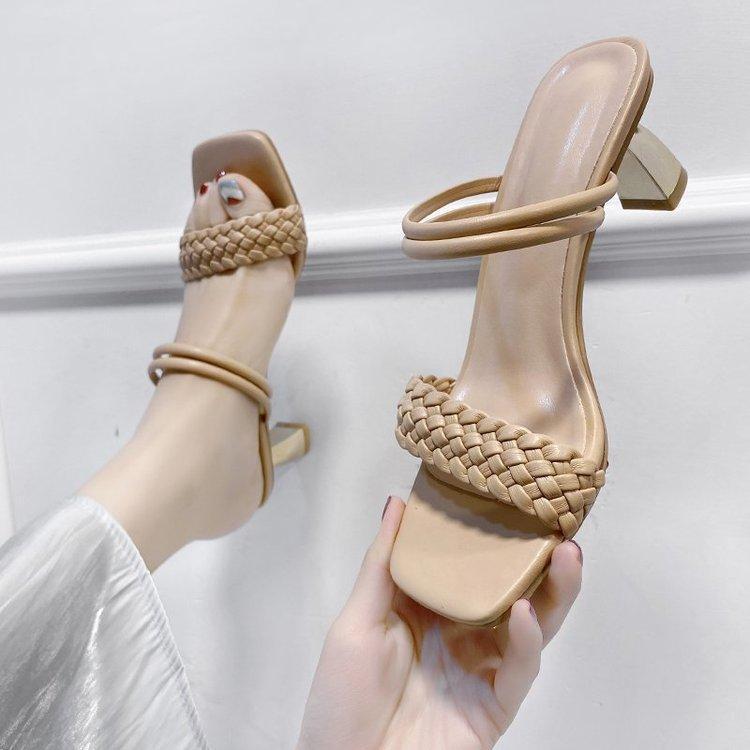 Tacones delgados Med Shoes Peep Toe Ladies Slippers Slipers Slipers Mujeres 2021 Scandías de Roma Securaciones PU Diapositivas de goma Tela básica