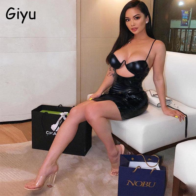 Casual Dresses Giyu Sexy Night Club Party Dress Women 2021 Autumn Bodycon Slim Mini Spaghetti Off Shoulder Hollow Out Vestidos Black