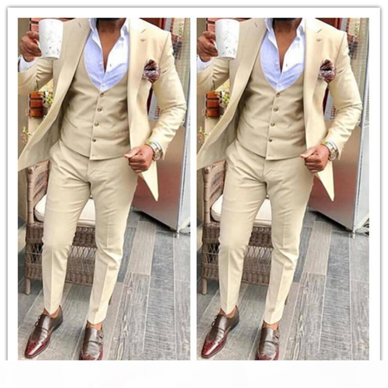 Beige Groom Tuxedos Wedding Suits Groomsmen Best Man For Young Man Prom Coupple Day Suits (Jacket+Pants+Vest) Custom made Plus size
