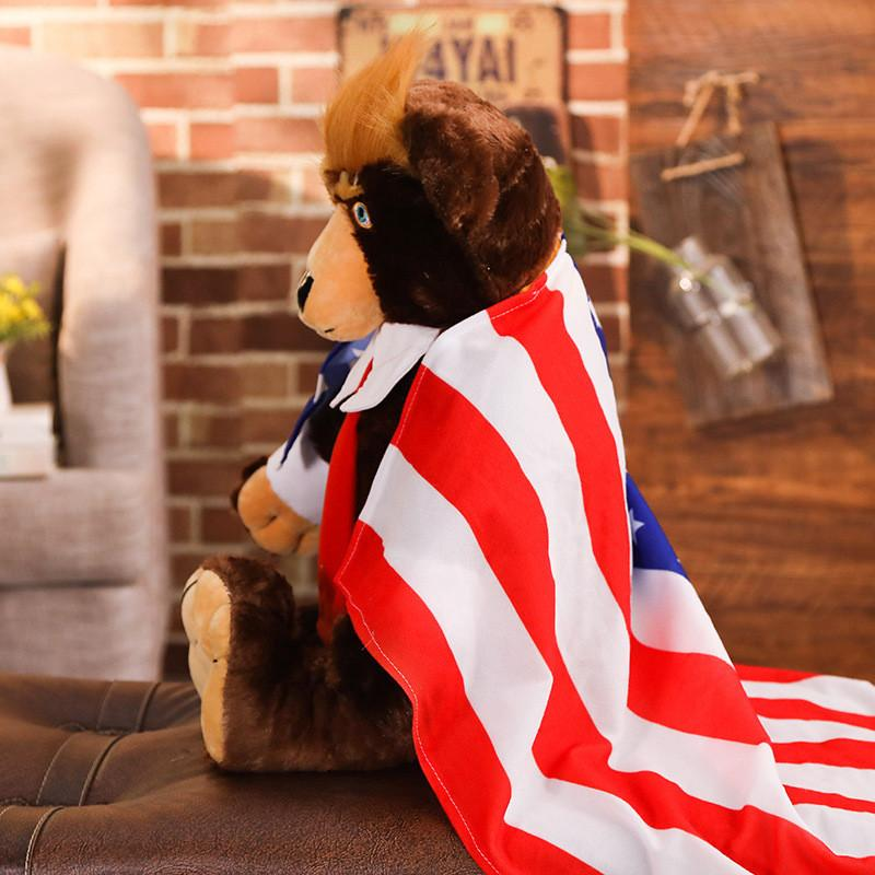 مع دونالد الرئيس الدب لعب العلم تريفيد دمية 62 سنتيمتر الأطفال الدببة تيدي ترامب مجموعة محشوة لعبة أفخم هدية للولايات المتحدة الأمريكية صبي اللعب ewiij