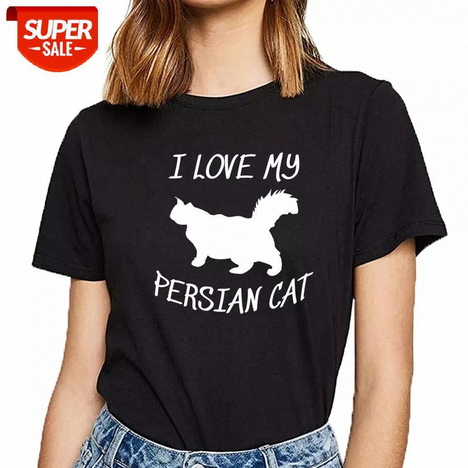 T gömlek Kadın Farsça Kedi Komik Beyaz Özel Kadın Tshirt Parti # Zi7r