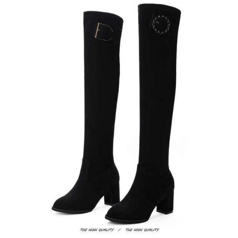 Boots Ladies Autumn High Heels Thigh Winter Sexy Over-the-knee Shoes Black Pleated Long