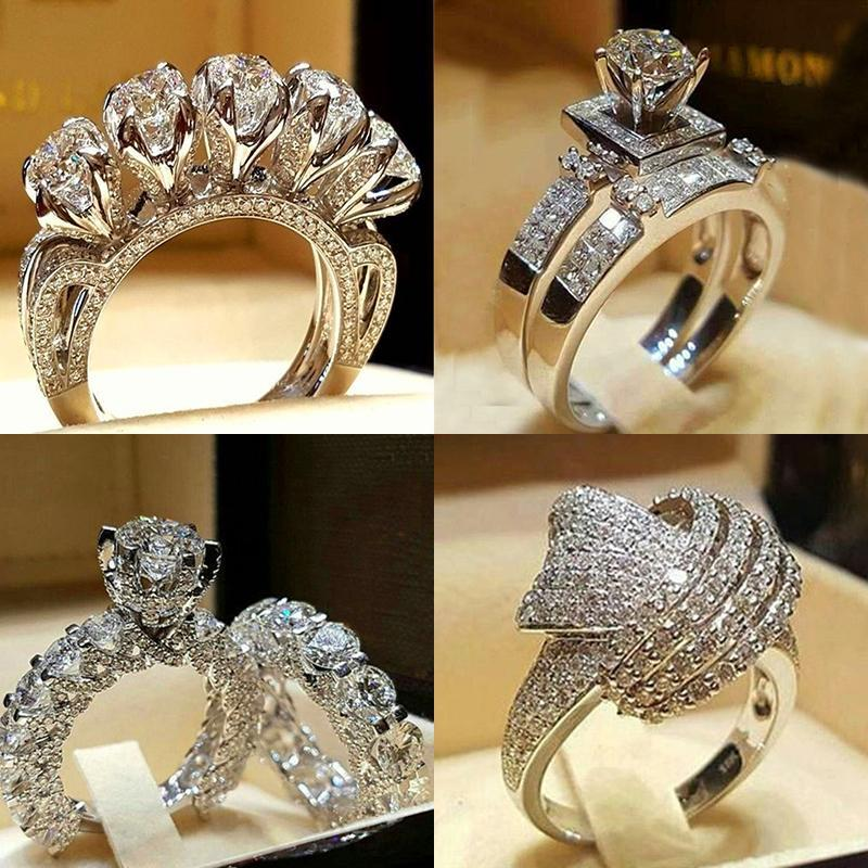 Wedding Rings Luxury Male Female Crystal Zircon Stone Ring Vintage 925 Silver Set Promise Engagement For Men And Women