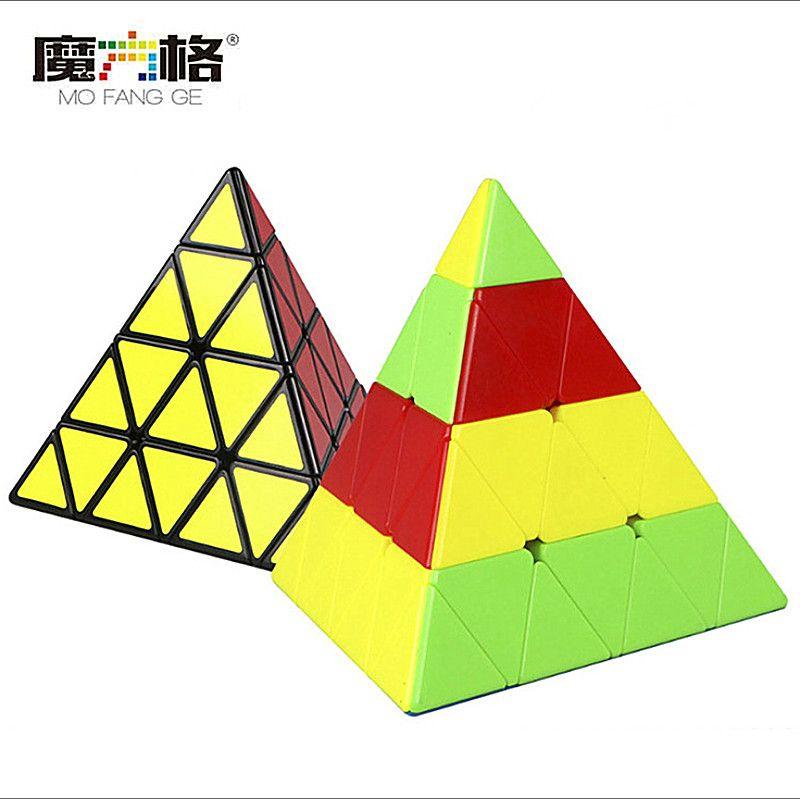 Qiyi 4x4x4 Pyramid Speed Cube Qiyi Pyramid 4x4 Puzzle Magic Cubo 4x4 Puzzle Pyramid Cube Niños Educación Juguetes