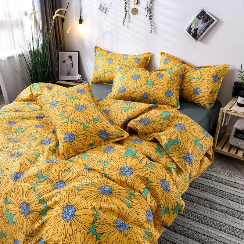 Herbst idyllische kleine frische vier stück Set Bett einzelne Quiltabdeckung Mädchen Herz Bettwäsche Studentenwohnheim Drei Sätze