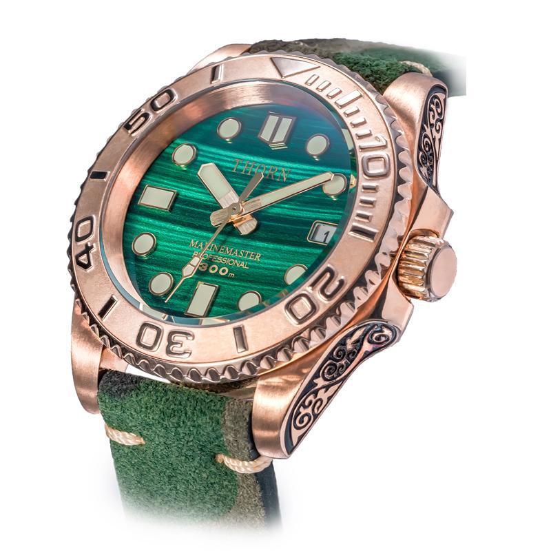 Armbanduhren Zinn Bronze geschnitzte Yacht Malachit Textur Email Glossy Super C3 Leuchtende Retro Tauchuhr