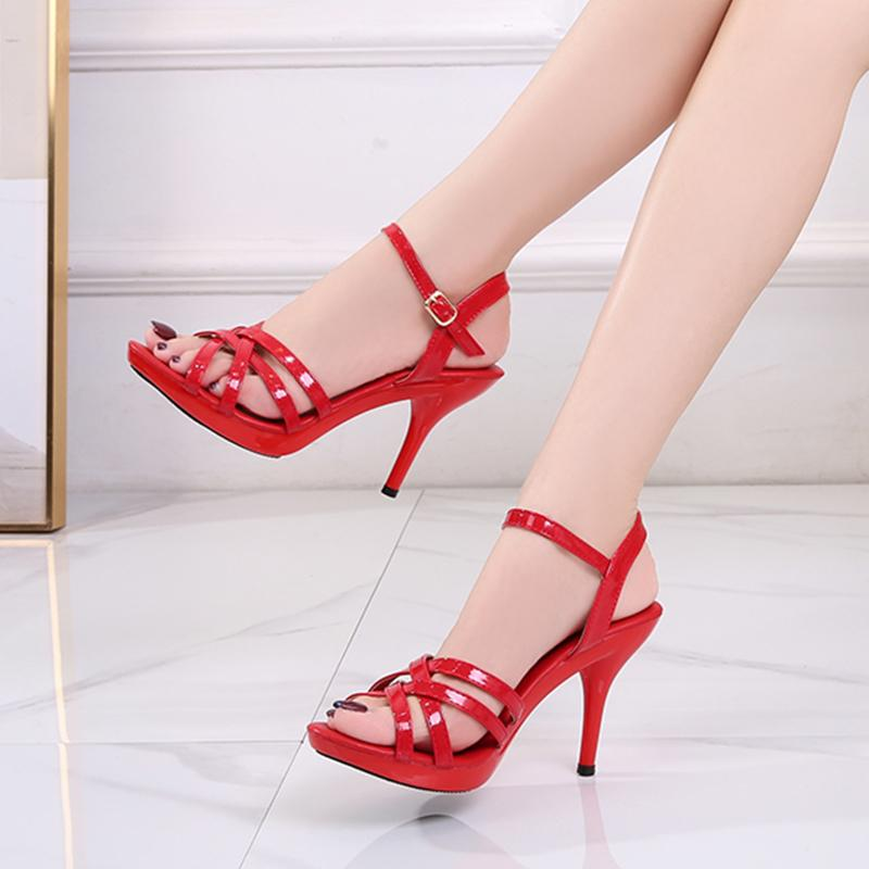 Women Sandals Red Patent Leather High Heel Sandals Women Open Toe Plus Size Summer Sexy Ladies Party Shoes Fine Heel 210514