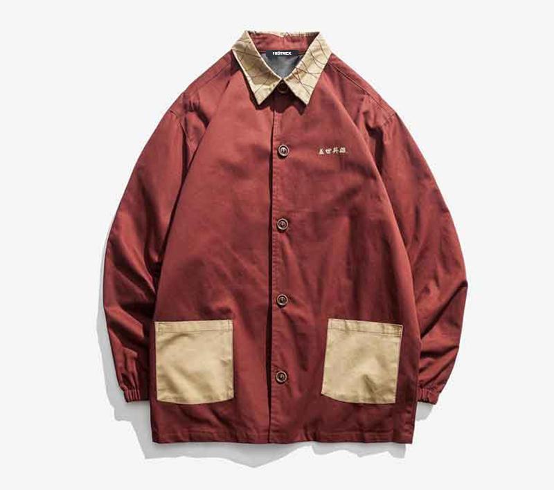 인쇄 성격 셔츠 가을 복고풍 일본 중국 스타일 재킷 조수의 HT5TS1 # 캐주얼 셔츠의 윈드 브레이커 남자의 긴 histrex 섹션