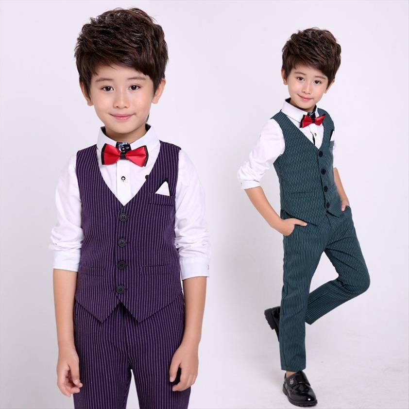 Flower Boys Formal Suits Vest Pants 2pcs School Kids Weeding Birthday Dress Childrens Day Chorus Show Piano Performance Costume