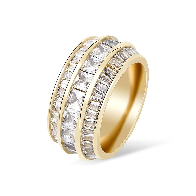 New Fashion Charm Square Cubic Zirconia Stones Rings Iced Out Micro Pave Women Couple Gold Color Rings Hip Hop Jewelry Gift