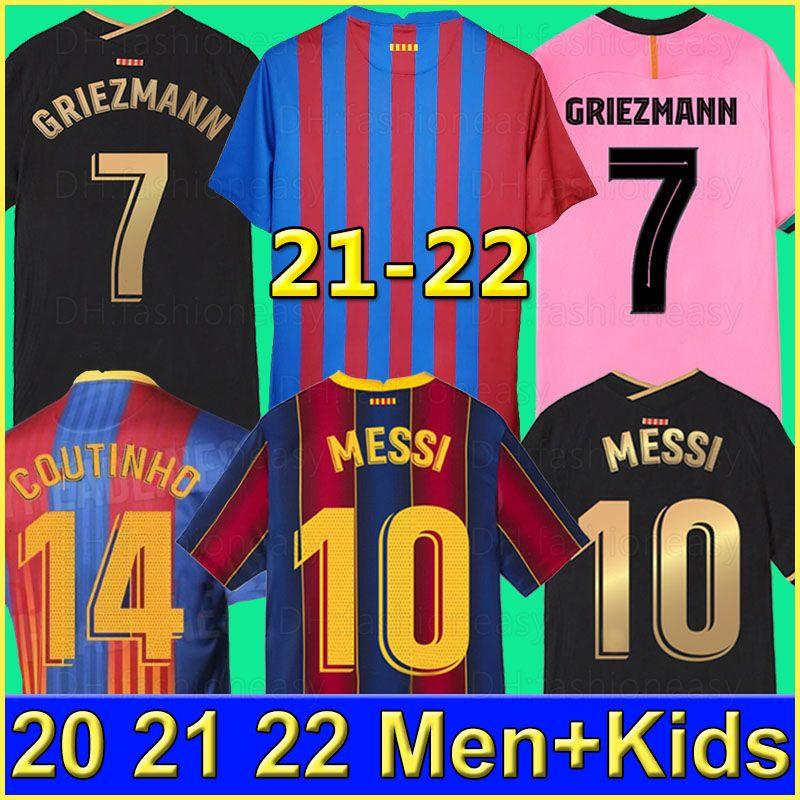 Barcelona Maglia da calcio  BARCA 20 21 camiseta de futbol ANSU FATI 2020 2021 MESSI GRIEZMANN SUAREZ Maillots de maglia da calcio da uomo kit per bambini