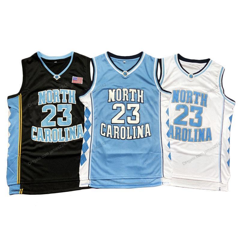 Корабль от нас Майкл MJ # 23 Баскетбол Джерси Северная Каролина Тар каблуки Требовые изделия Мужчины Все сшитые синий белый черный размер S-3XL высочайшее качество