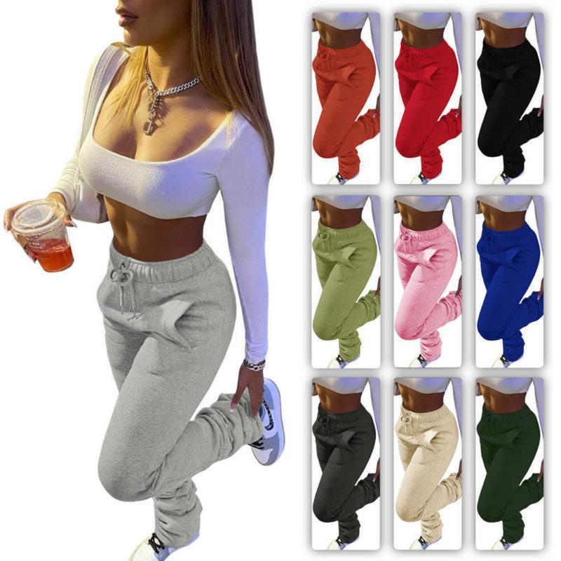 Kadın Pantolon Yığılmış Sweatpants Tasarımcı Spor Casual İpli Pantolon Cepler Ile Yığın Bayanlar Moda Tayt S-XXXL