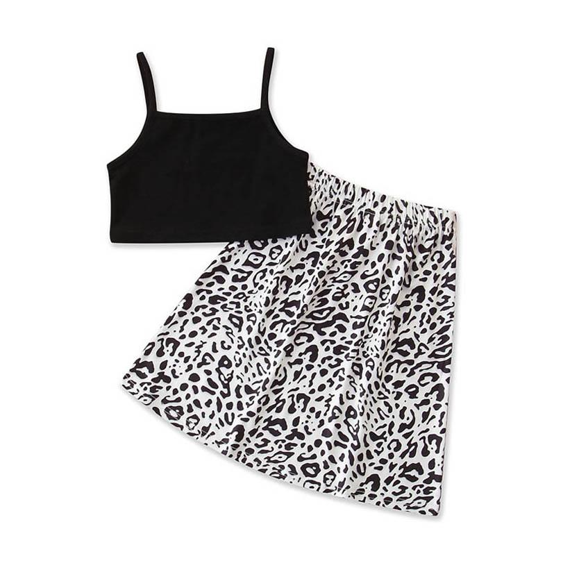 Clothing Sets Girls Outfits Baby Clothes Children Kids Summer Cotton Leopard Suits Tank Tops Skirts 2Pcs 2-6Y B4357