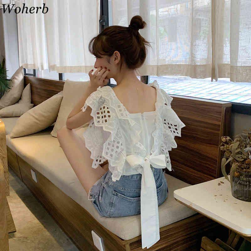Crochet élégant Top femme Blouse Blouse Black Summer Casual Sans Manches Blusas Sexy Backless Dace-Up Chemises 210417