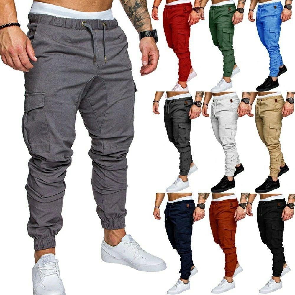 Calças casuais mens macacão macacão multi calça esportes cor sólida homens cruz trade fronteira mais do que um bolso