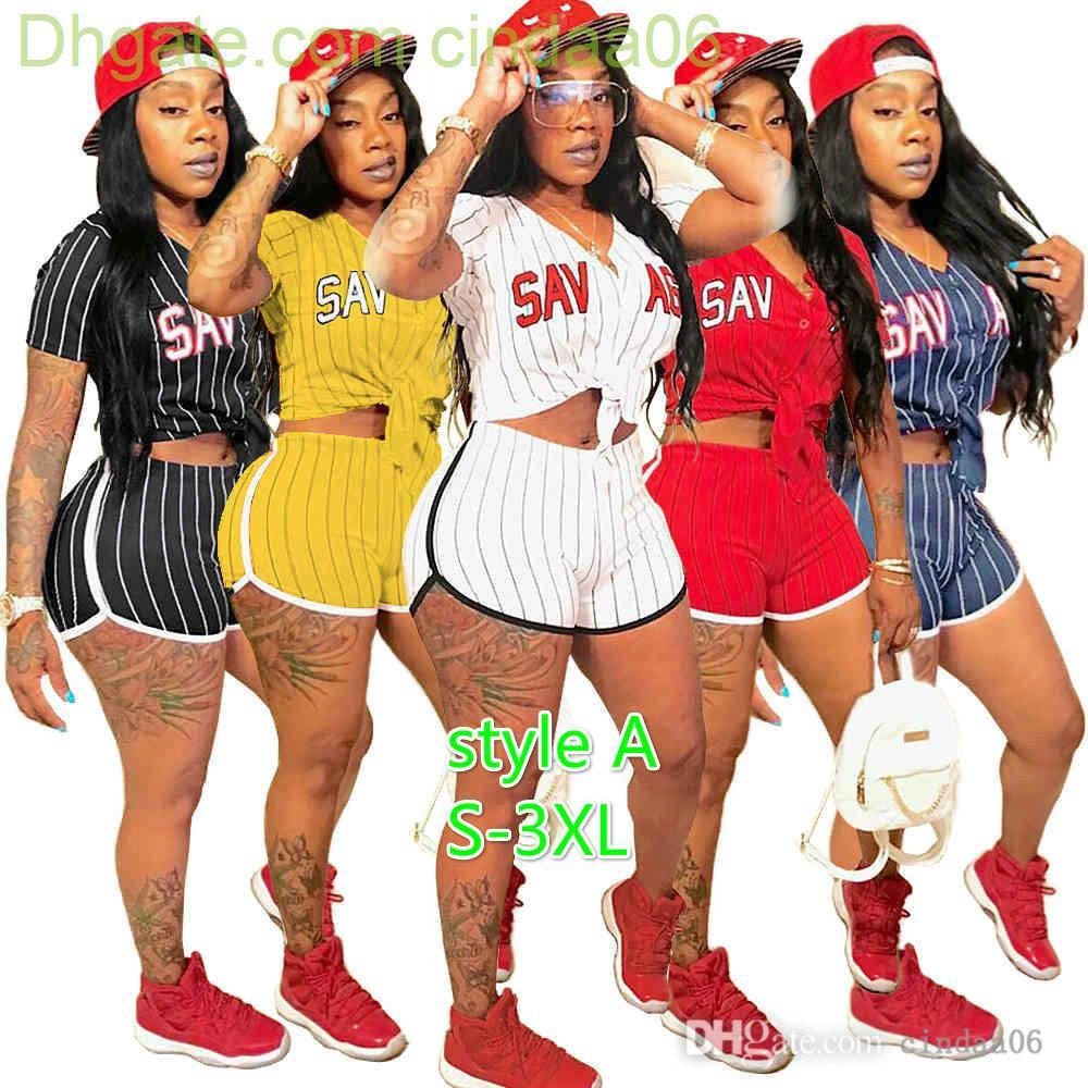 디자이너 여성 Tracksuits 섹시한 두 조각 세트 나이트 클럽 숙 녀 스트라이프 문자 야구 유니폼