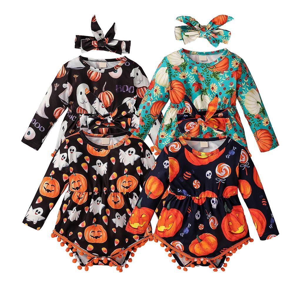 طفل صبي فتاة رومبير عقال 2 قطع بذلة هالوين زي الزي طويل الأكمام اليقطين شبح طباعة الصيف أكمام الملابس 2021