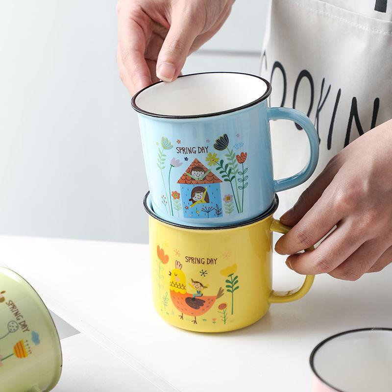 Mugs Classic Retro Procelain Water Cups Ceramic Korea Style House Tea Coffee Cartoon Drinkware