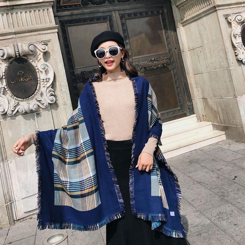 Moda cachecol de inverno para mulheres cashmere lenços xales lã macia quente feminina bandanas
