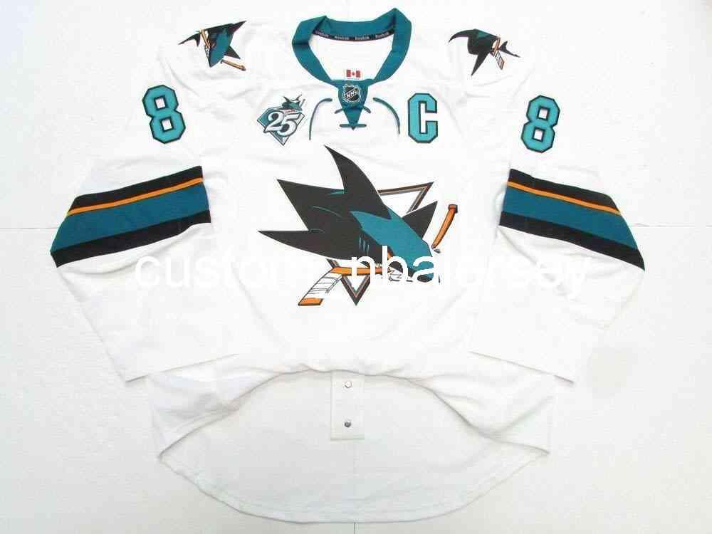 Ricamo Pavelski San Jose Sharks Away 25th Anniversary Jersey Hockey da uomo personalizzato Jersey Aggiungi qualsiasi Nome Numero