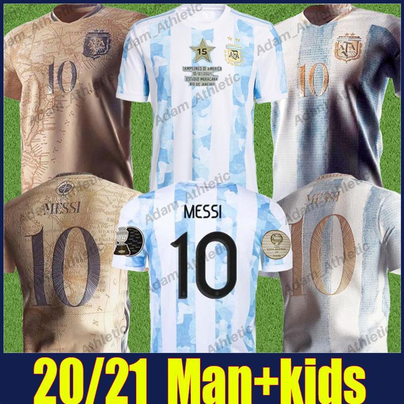 Argentina Messi Futebol Jerseys 2021 Copa América Campeão Camisa di Maria Maradona Camisas de futebol L.Martinez Kun Aguero de Paul 200 Irmética Jersey Argentino